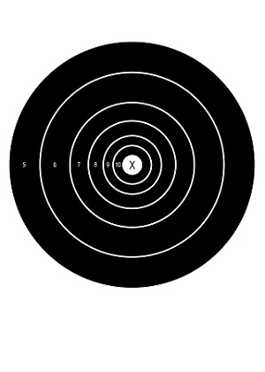 Black Circular Single Spot Bullseye - 10x14
