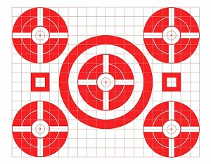Red Five Spot Grid Bullseye - 17.5x22.5