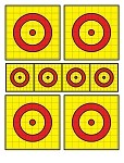 Yellow, Red, Black Eight Spot Bullseye - 19x25