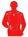 19x25 Red Handgun Silhouette